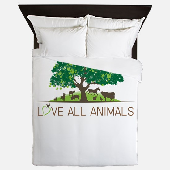 love all animals Queen Duvet