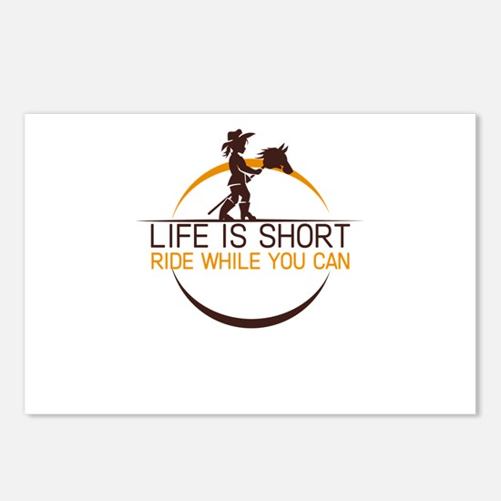 life is short ride while Postcards (Package of 8)