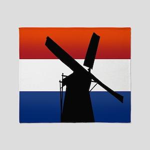Dutch Windmill Flag Throw Blanket