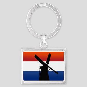 Dutch Windmill Flag Landscape Keychain