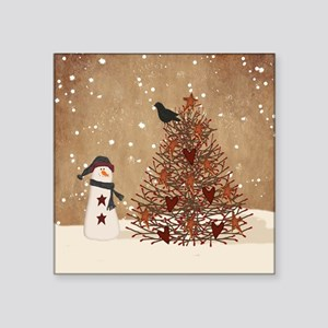 Primitive Snowman With Tree Sticker