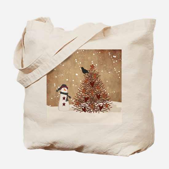 Primitive Snowman With Tree Tote Bag