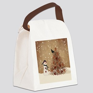 Primitive Snowman With Tree Canvas Lunch Bag