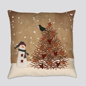 Primitive Snowman With Tree Everyday Pillow