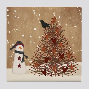 Primitive Snowman With Tree Tile Coaster