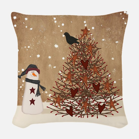 Primitive Snowman With Tree Woven Throw Pillow