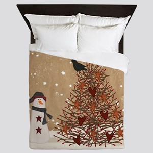 Primitive Snowman With Tree Queen Duvet