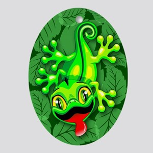 Gecko Lizard Baby Cartoon Oval Ornament