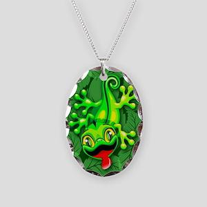Gecko Lizard Baby Cartoon Necklace Oval Charm