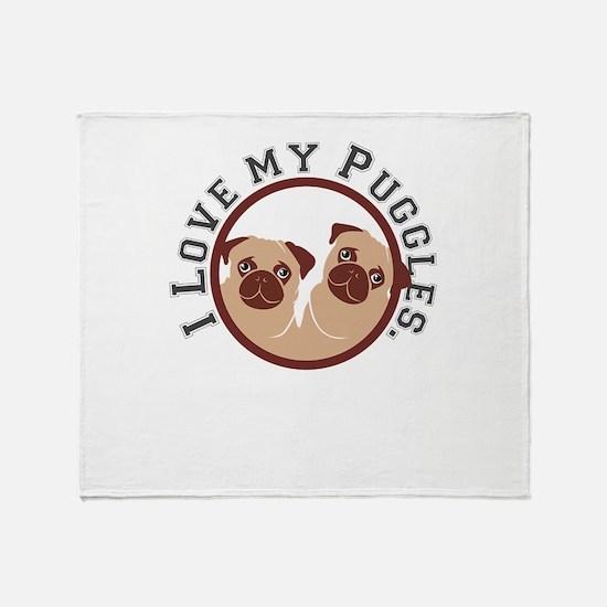 i love my puggles Throw Blanket