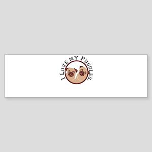 i love my puggles Bumper Sticker