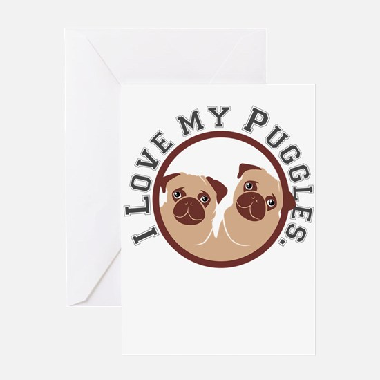 i love my puggles Greeting Cards