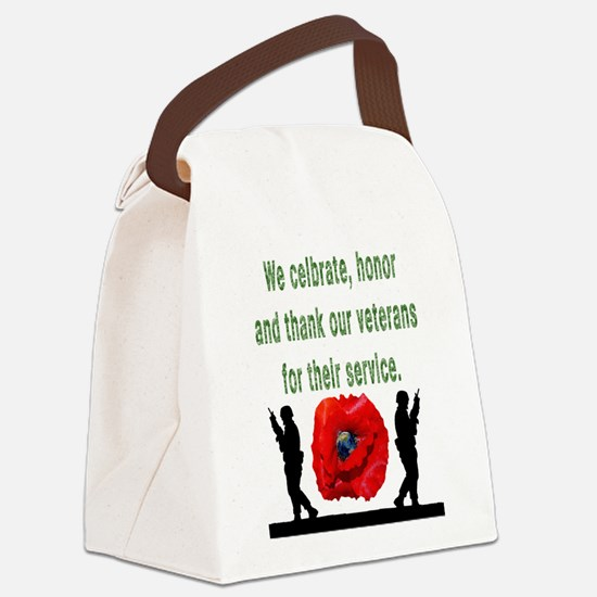 Cute Red poppy Canvas Lunch Bag