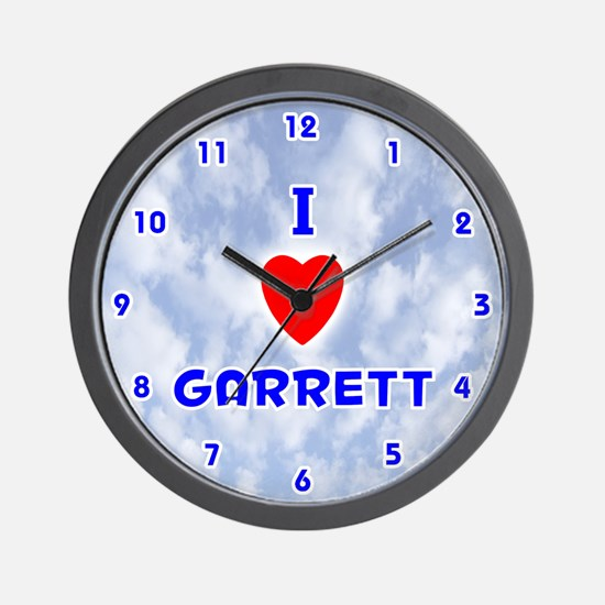 I Love Garrett (Blue) Valentine Wall Clock