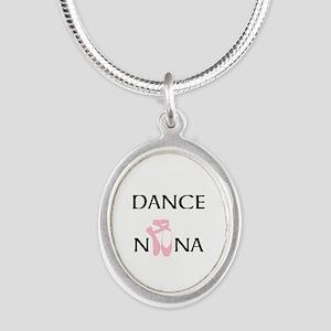 Dance Nana Pointe Pink Silver Oval Necklace