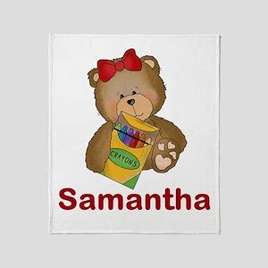 Samantha's Crayon Bear Throw Blanket
