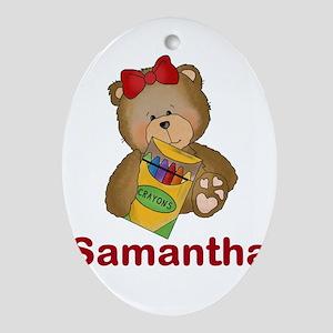 Samantha's Crayon Bear Oval Ornament