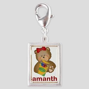 Samantha's Crayon Bear Silver Portrait Charm
