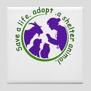 save a life, adopt, a shelter animal Tile Coaster