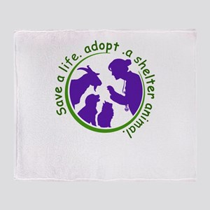 save a life, adopt, a shelter animal Throw Blanket