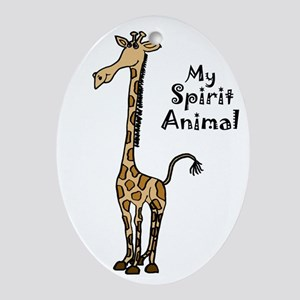 Funny Giraffe Spirit Guide Oval Ornament