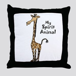 Funny Giraffe Spirit Guide Throw Pillow
