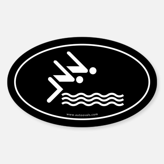 Competitive Swimming Auto Decal -Black (Oval)