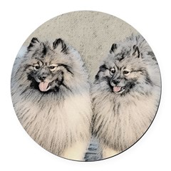 Keeshonds Round Car Magnet