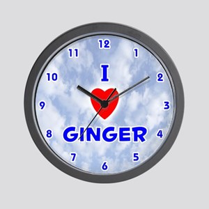I Love Ginger (Blue) Valentine Wall Clock