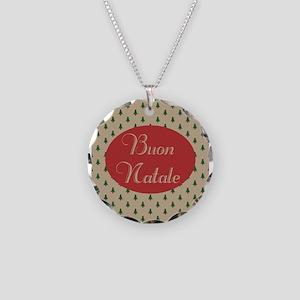Buon Natale - Italian Merry Necklace Circle Charm