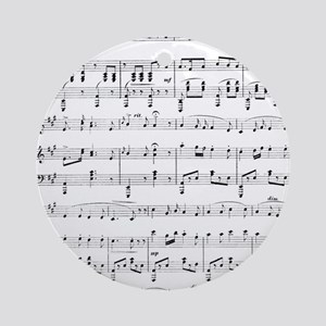 Sheet Music Round Ornament
