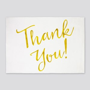 Thank You Gold Faux Foil Motivation 5'x7'Area Rug