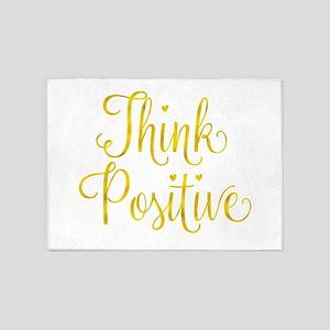 Think Positive Gold Faux Foil Inspi 5'x7'Area Rug