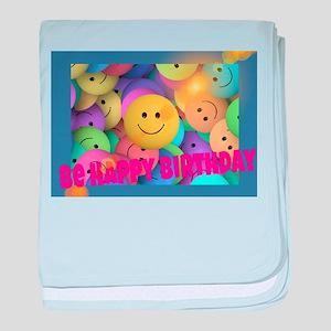 Be Happy Birthday baby blanket