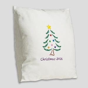 Holiday Christmas Tree 2016 Burlap Throw Pillow