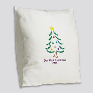 Our First Christmas 2016 Burlap Throw Pillow