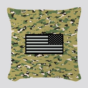 Camouflage: Woodland IV & U.S. Woven Throw Pillow