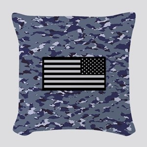 Camouflage: Naval & U.S. Flag Woven Throw Pillow
