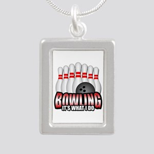 Bowling it's what I do Silver Portrait Necklace