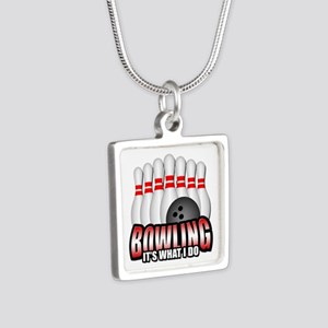 Bowling it's what I do Silver Square Necklace