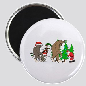 Bigfoot family meet Santa 2 Magnet