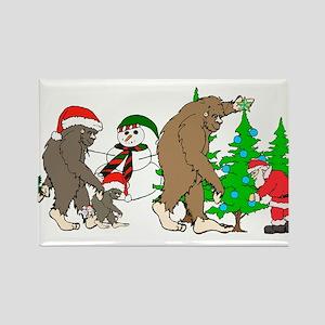 Bigfoot family meet Santa 2 Rectangle Magnet