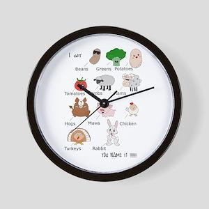 Beans, Greens, Potatoes, Tomatoes Wall Clock