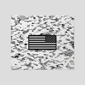 Camouflage: Alpine VI (U.S. Flag) Throw Blanket