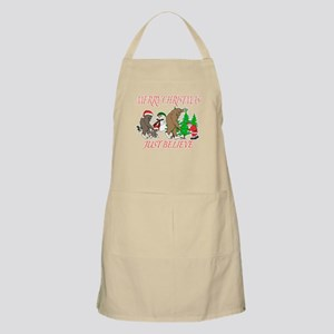 Bigfoot family meet Santa 3 Apron