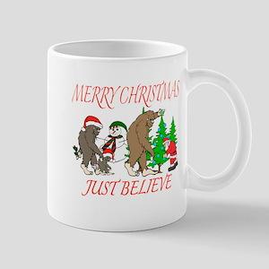 Bigfoot family meet Santa 3 Mug