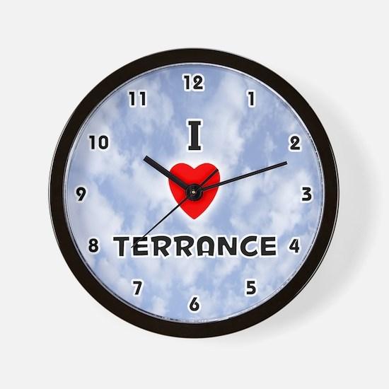I Love Terrance (Black) Valentine Wall Clock
