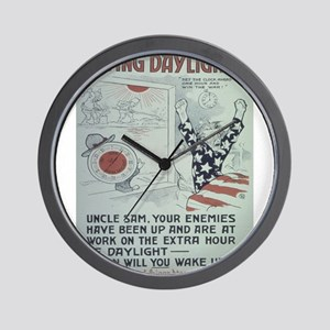 Vintage poster - Saving Daylight! Wall Clock