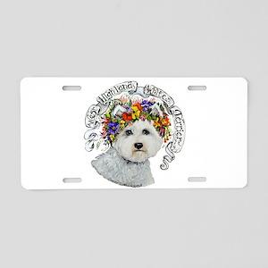 Westie Flower Garland Aluminum License Plate