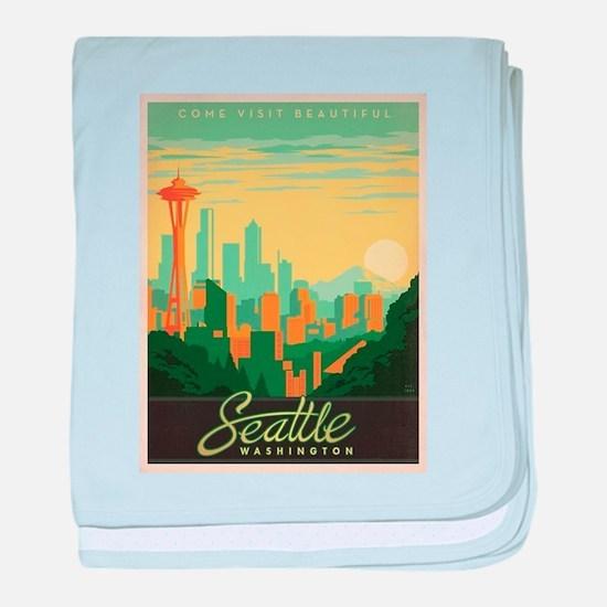 Vintage poster - Seattle baby blanket